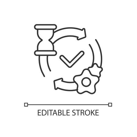 Processing linear icon. Network request handling notification. HTTP status message thin line customizable illustration. Contour symbol. Vector isolated outline drawing. Editable stroke
