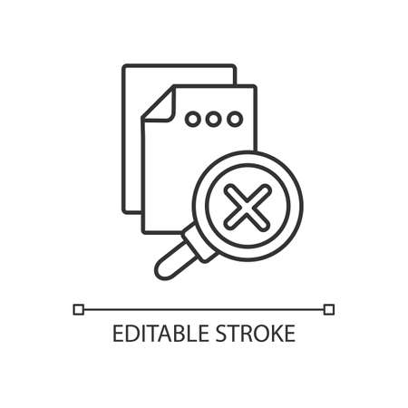 No results found linear icon. User request, page not found, 404 error notification thin line customizable illustration. Contour symbol. Vector isolated outline drawing. Editable stroke