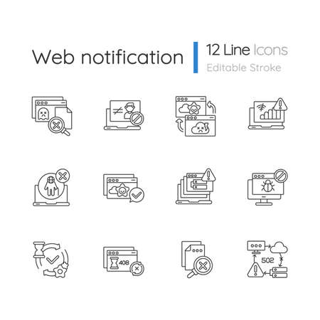 Web notifications linear icons set. Different HTTP status codes customizable thin line contour symbols. Internet websites responses. Isolated vector outline illustrations. Editable stroke
