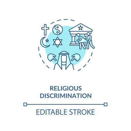 Religious discrimination concept icon. Mistreatment based on religion idea thin line illustration. Desegregation. Human rights. Vector isolated outline RGB color drawing. Editable stroke Ilustração