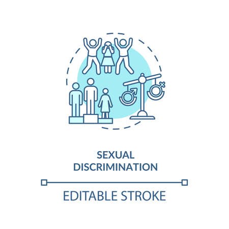 Sexual discrimination concept icon. Sexual prejudice idea thin line illustration. Gender based mistreatment. Employment discrimination. Vector isolated outline RGB color drawing. Editable stroke