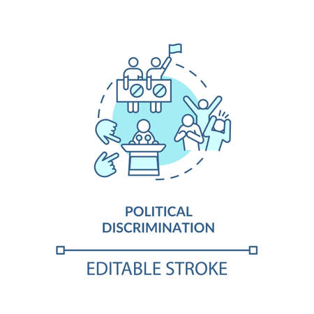 Political discrimination concept icon. Mistreatment based on political activities and views idea thin line illustration. Prejudice. Vector isolated outline RGB color drawing. Editable stroke Vecteurs