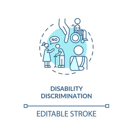 Disability discrimination concept icon. Disabled people prejudice idea thin line illustration. Tolerance. Human rights mistreatment. Vector isolated outline RGB color drawing. Editable stroke