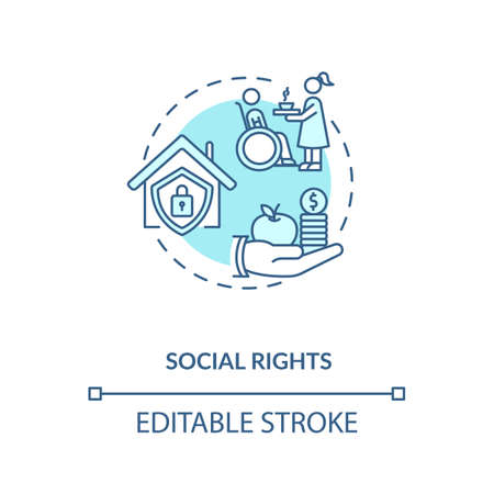 Social rights concept icon. Socio economic rights idea thin line illustration. Right to private housing and medical care. Vector isolated outline RGB color drawing. Editable stroke 向量圖像