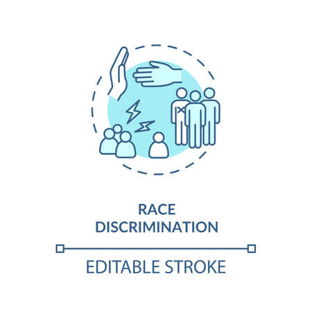 Race discrimination concept icon. Skin color and ethnic discrimination idea thin line illustration. Racism. Antisemitism. Inequality. Vector isolated outline RGB color drawing. Editable stroke Illustration