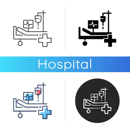 Intensive care icon. Critical care medicine. ICU. Hospital ward. Intensive treatment and close monitoring. Resuscitation. Linear black and RGB color styles. Isolated vector illustrations