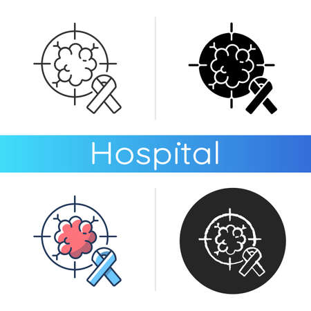 Oncology department icon. Cancer treatment center. Radiology cancer. Radiation therapy and oncologist. Radiotherapy. Linear black and RGB color styles. Isolated vector illustrations