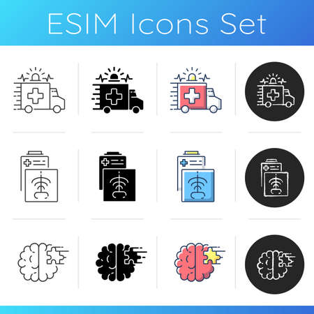 Health care icons set. Ambulance. Radiology department. Emergency response. CT scan. Psychiatric ward. Mental health hospital. Linear, black and RGB color styles. Isolated vector illustrations