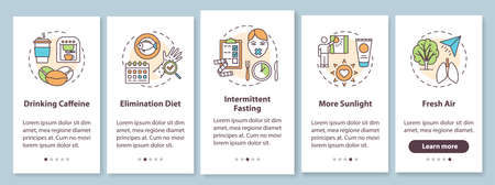 Biohacking tips onboarding mobile app page screen with concepts. Health advancement guide walkthrough five steps graphic instructions. UI vector template with RGB color illustrations