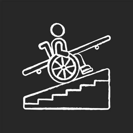 Step free access chalk white icon on black background. Wheelchairs and strollers access. Avoiding stairs. Accessible transportation. City infrastructure. Isolated vector chalkboard illustration Ilustração