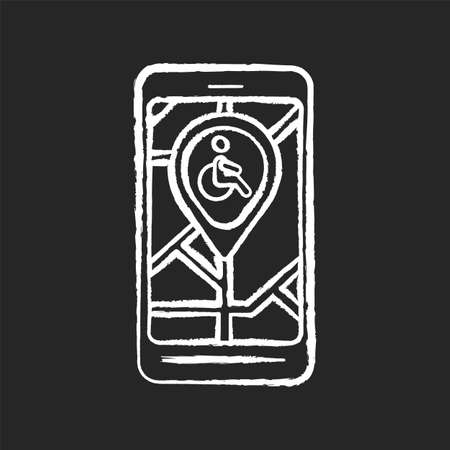 City navigation app chalk white icon on black background. City map app for wheelchair users. Navigation in public places. Wheelchair accessible routes. Isolated vector chalkboard illustration