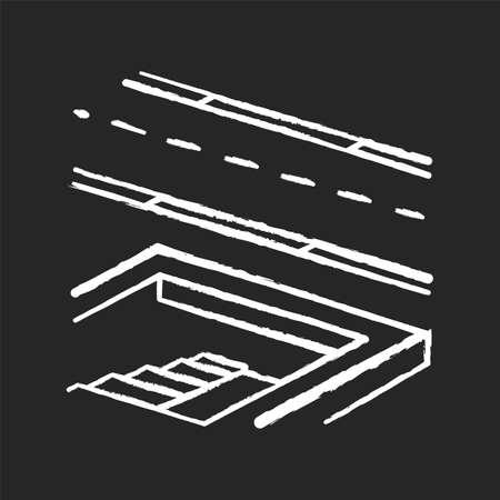 Underground pedestrian walkway chalk white icon on black background. Safe pedestrian crosswalk. Underground tunnels. Modern city infrastructure. Isolated vector chalkboard illustration 矢量图像