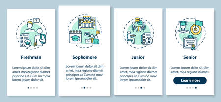 Class year onboarding mobile app page screen with concepts. College education walkthrough 4 steps graphic instructions. High school pupil UI vector template with RGB color illustrations