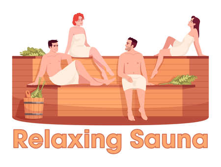 Finnish sauna semi flat RGB color vector illustration. People rest in public bathhouse. Relaxing sauna phrase. Male and female adult friends isolated cartoon character on white background