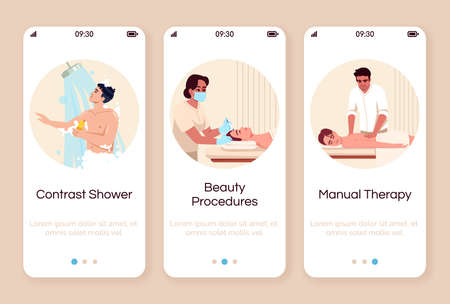 Spa resort onboarding mobile app screen vector template. Hot shower. Cosmetological treatment. Body care and pamper. Walkthrough website steps with flat characters. Smartphone cartoon UX, UI, GUI