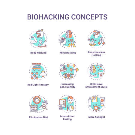 Biohacking concept icons set. DIY biology, health improvement idea thin line RGB color illustrations. Body and mind productivity development. Vector isolated outline drawings. Editable stroke