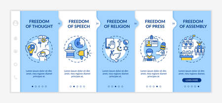 Basic human freedoms onboarding vector template. Freedom of press. Fundamental human rights. Responsive mobile website with icons. Webpage walkthrough step screens. RGB color concept