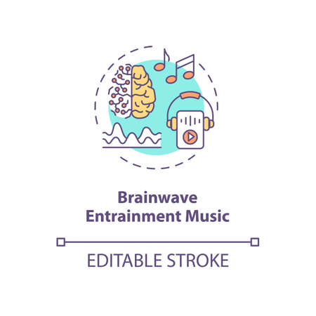 Brainwave entrainment music concept icon. Biohacking tips, self improvement idea thin line illustration. Productivity increase advice. Vector isolated outline RGB color drawing. Editable stroke Illustration