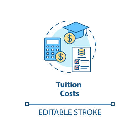 Tuition costs concept icon. Scholarship for student. Studying fee. Loan for university. College life idea thin line illustration. Vector isolated outline RGB color drawing. Editable stroke