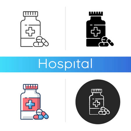 Pharmacy icon. Drugstore. Pharmaceutical industry. Drugs manufacturing. Pills prescription. Medical treatment. Linear black and RGB color styles. Isolated vector illustrations