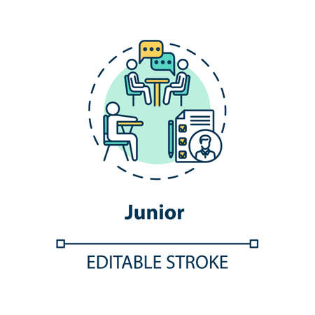 Junior concept icon. Student tutoring. University class period. High school attendant. College life idea thin line illustration. Vector isolated outline RGB color drawing. Editable stroke Vectores