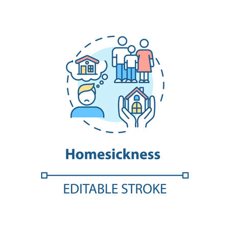Homesickness concept icon. Anxiety from separation. Depression from long distance. College life idea thin line illustration. Vector isolated outline RGB color drawing. Editable stroke