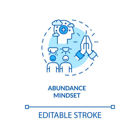 Abundance mindset concept icon. Biohacking tips, psychosomatics idea thin line illustration. Positive thinking, optimistic mentality. Vector isolated outline RGB color drawing. Editable stroke Illustration