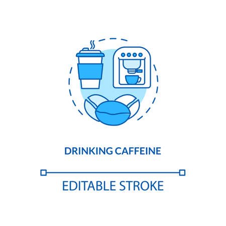Drinking caffeine concept icon. Biohacking tips idea thin line illustration. Traditional breakfast beverage, energy drink. Natural coffee vector isolated outline RGB color drawing. Editable stroke
