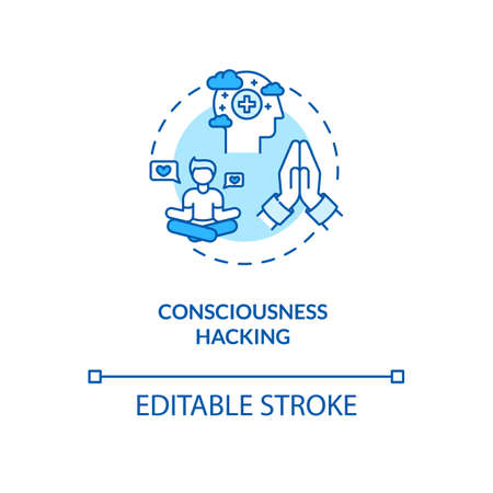 Consciousness hacking concept icon. Biohacking, spiritual growth idea thin line illustration. Meditation amd relaxation exercises. Vector isolated outline RGB color drawing. Editable stroke