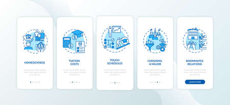 University difficulty onboarding mobile app page screen with concepts. Student challenges walkthrough 5 steps graphic instructions. School UI vector template with RGB color illustrations