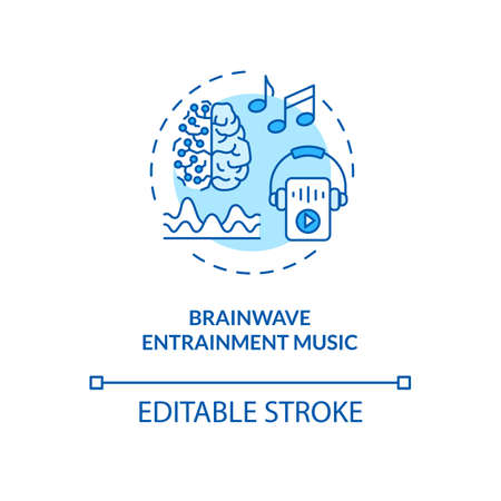Brainwave entrainment music concept icon. Biohacking and self improvement idea thin line illustration. Productivity increase, audio therapy. Vector isolated outline RGB color drawing. Editable stroke