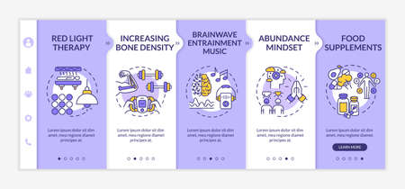 Biohacking tips onboarding vector template. Red light therapy, brainwave music, sport and abundance mindset. Responsive mobile website with icons. Webpage walkthrough step screens. RGB color concept