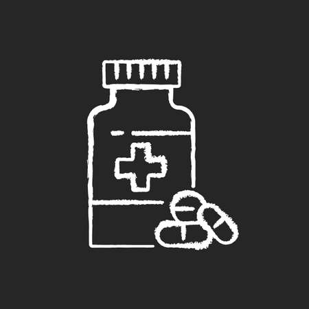 Pharmacy chalk white icon on black background. Drugstore. Pharmaceutical industry. Drugs manufacturing. Pills prescription. Medical treatment. Isolated vector chalkboard illustration