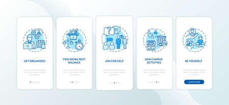 Student self organization onboarding mobile app page screen with concepts. College life walkthrough 5 steps graphic instructions. University lifestyle UI vector template with RGB color illustrations