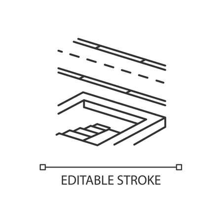 Underground pedestrian walkway linear icon. Safe pedestrian crosswalk. Underground tunnels. Thin line customizable illustration. Contour symbol. Vector isolated outline drawing. Editable stroke