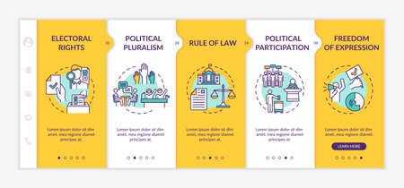 Political rights onboarding vector template. Political pluralism. Rule of law. Freedom of expression. Responsive mobile website with icons. Webpage walkthrough step screens. RGB color concept Illustration