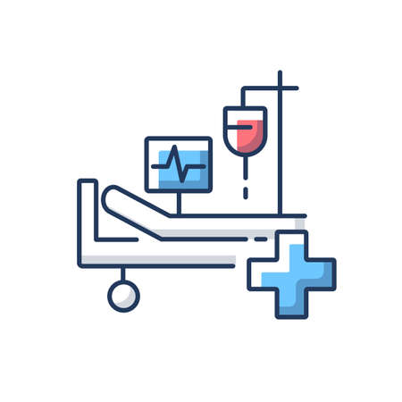 Intensive care RGB color icon. Critical care medicine. ICU. Hospital ward. Intensive treatment and close monitoring. Resuscitation. Hospital department. Isolated vector illustration