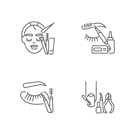 Face care linear icons set. Manicure. Microblading. Eyelash extension. Eyebrow lamination. Beauty procedure. Customizable thin line contour symbols. Isolated vector outline illustrations