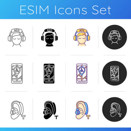 Devices for disabled people icons set. Audio description. Hearing loop. City map app for wheelchair users. App for wheelchair users. Linear, black and RGB color styles. Isolated vector illustration 向量圖像