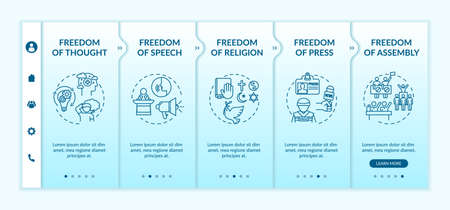Basic human freedoms onboarding vector template. Freedom of thought and speech. Human rights. Responsive mobile website with icons. Webpage walkthrough step screens. RGB color concept Illustration