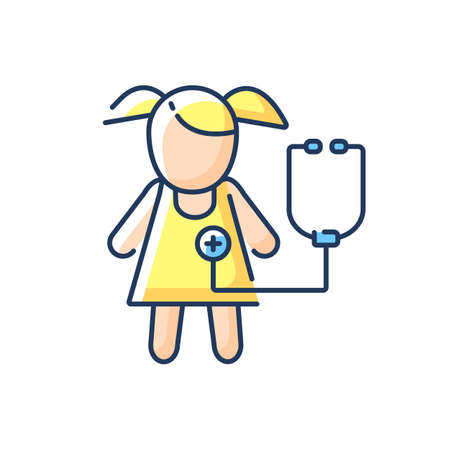 Pediatric department RGB color icon. Infants and children medical care. Kids physical, psychosocial development. Pediatrician. Child care. Hospital department. Isolated vector illustration