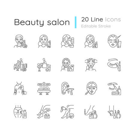 Beauty salon linear icons set. Anti cellulite program. Lash making. Face fitness. Hair styling. Customizable thin line contour symbols. Isolated vector outline illustrations. Editable stroke