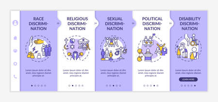 Discrimination types onboarding vector template. Racial and religious prejudice. Civil rights. Responsive mobile website with icons. Webpage walkthrough step screens. RGB color concept