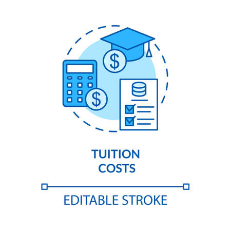 Tuition costs turquoise concept icon. Scholarship for student. Studying fee. Loan for university. College life idea thin line illustration. Vector isolated outline RGB color drawing. Editable stroke