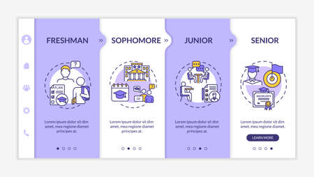 Class years onboarding vector template. Students from different study periods. High school. Responsive mobile website with icons. Webpage walkthrough step screens. RGB color concept Vetores
