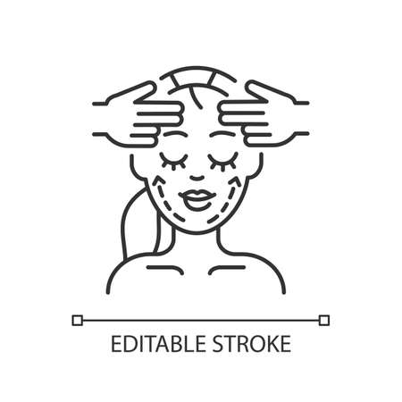 Face fitness linear icon. Facial and chin exercises. Face yoga. Professional skin care. Thin line customizable illustration. Contour symbol. Vector isolated outline drawing. Editable stroke Illustration