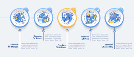 Basic human freedoms vector infographic template. Freedom of press. Presentation design elements. Data visualization with 5 steps. Process timeline chart. Workflow layout with linear icons Illustration