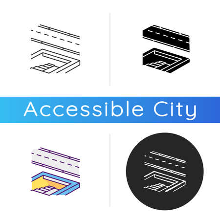 Underground pedestrian walkway icon. Safe pedestrian crosswalk. Underground tunnels. Modern city infrastructure. Linear black and RGB color styles. Isolated vector illustrations 矢量图像