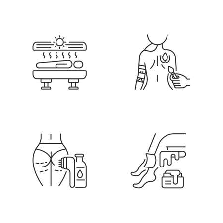 Body care linear icons set. Tanning. Body painting. Laser hair removal. Waxing. Solarium machine. Body art. Sugaring. Customizable thin line contour symbols. Isolated vector outline illustrations Ilustración de vector