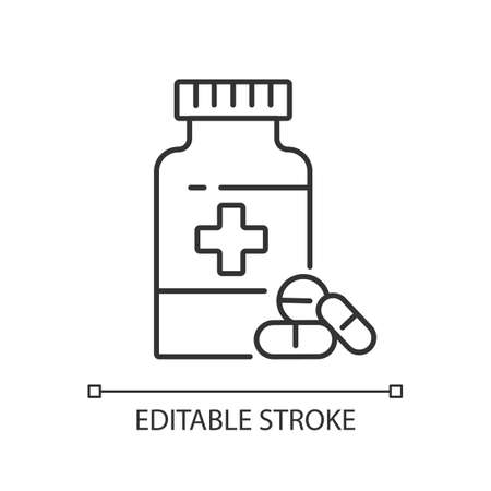 Pharmacy linear icon. Drugstore. Pharmaceutical industry. Pills prescription. Medical treatment. Thin line customizable illustration. Contour symbol. Vector isolated outline drawing. Editable stroke